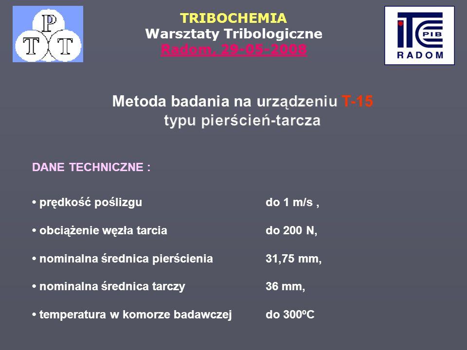 TRIBOCHEMIA Warsztaty Tribologiczne Radom, 29-05-2008 DANE TECHNICZNE : prędkość poślizgu do 1 m/s, obciążenie węzła tarciado 200 N, nominalna średnic