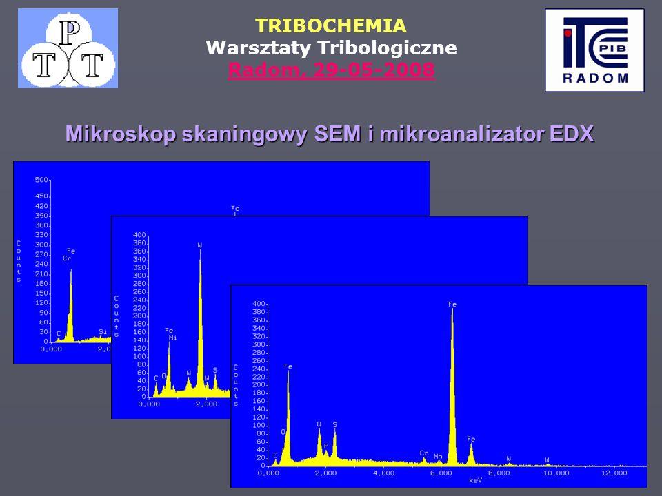 TRIBOCHEMIA Warsztaty Tribologiczne Radom, 29-05-2008 Mikroskop skaningowy SEM i mikroanalizator EDX