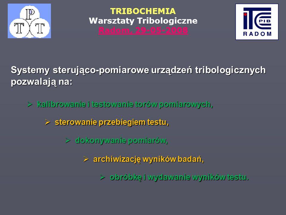TRIBOCHEMIA Warsztaty Tribologiczne Radom, 29-05-2008 kalibrowanie i testowanie torów pomiarowych, kalibrowanie i testowanie torów pomiarowych, sterow