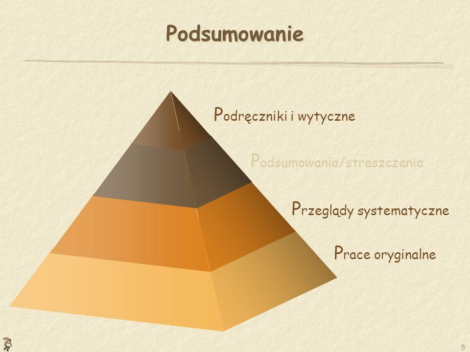 5 Podsumowanie P race oryginalne P rzeglądy systematyczne P odsumowania/streszczenia P odręczniki i wytyczne