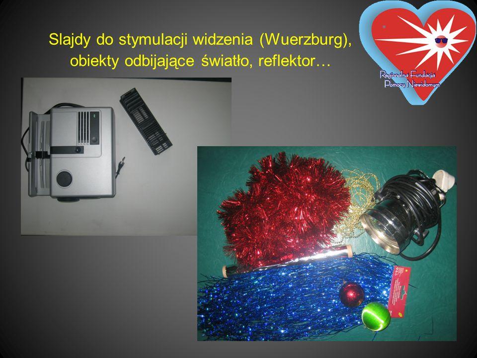 Slajdy do stymulacji widzenia (Wuerzburg), obiekty odbijające światło, reflektor…