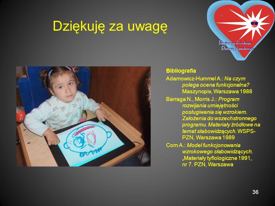 Dziękuję za uwagę Bibliografia Adamowicz-Hummel A.: Na czym polega ocena funkcjonalna? Maszynopis, Warszawa 1988 Barraga N., Morris J.: Program rozwij