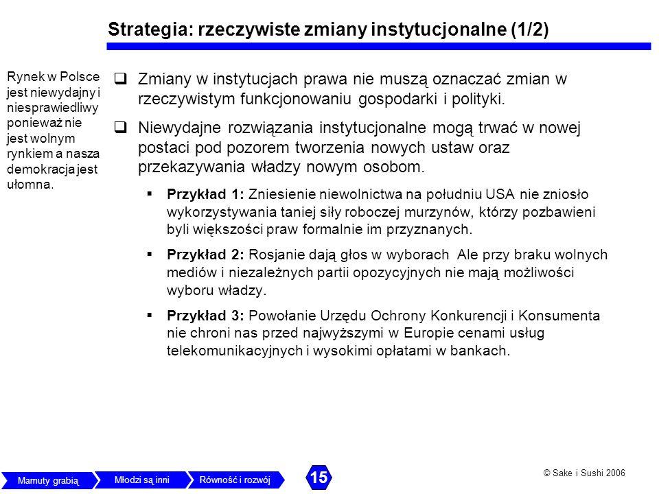 © Sake i Sushi 2006 Strategia: rzeczywiste zmiany instytucjonalne (1/2) Zmiany w instytucjach prawa nie muszą oznaczać zmian w rzeczywistym funkcjonow