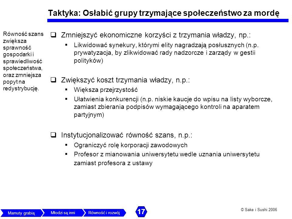 © Sake i Sushi 2006 Taktyka: Osłabić grupy trzymające społeczeństwo za mordę Zmniejszyć ekonomiczne korzyści z trzymania władzy, np.: Likwidować synek