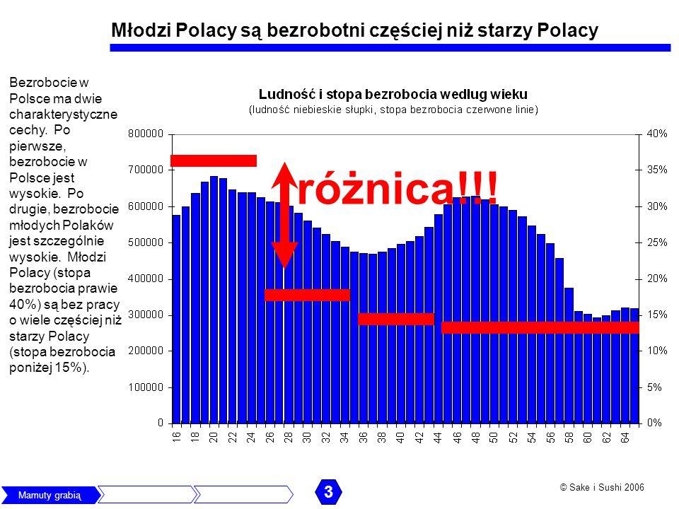 © Sake i Sushi 2006 Młodzi Polacy są bezrobotni częściej niż młodzi z innych krajów Wszędzie na świecie stopa bezrobocia młodych jest wyższa niż starych (bo młodzi mniej potrafią i nie udowodnili swojej przydatności do pracy), jednak różnica w stopach bezrobocia na korzyść starszych w Polsce jest ogromna.