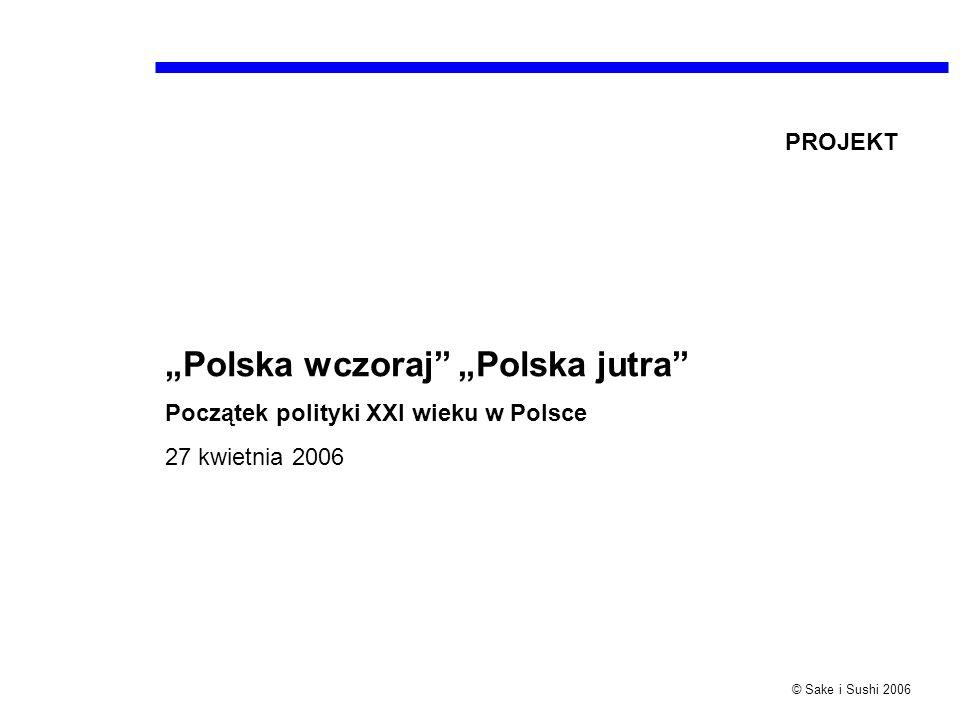 © Sake i Sushi 2006 Polska wczoraj Polska jutra Początek polityki XXI wieku w Polsce 27 kwietnia 2006 PROJEKT