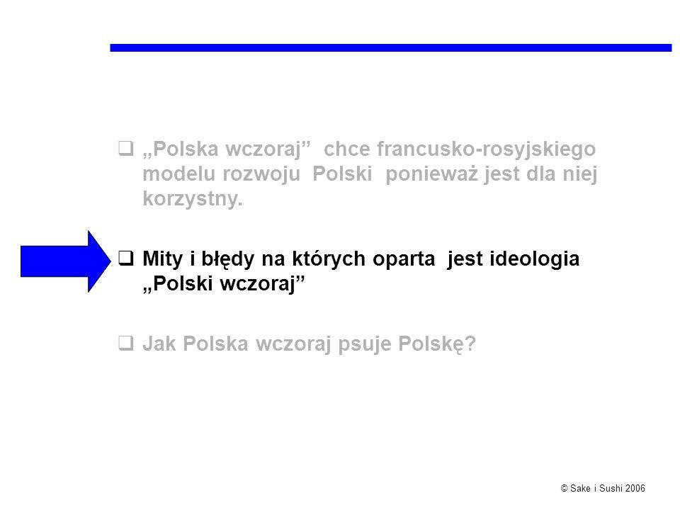 © Sake i Sushi 2006 Polska wczoraj chce francusko-rosyjskiego modelu rozwoju Polski ponieważ jest dla niej korzystny. Mity i błędy na których oparta j