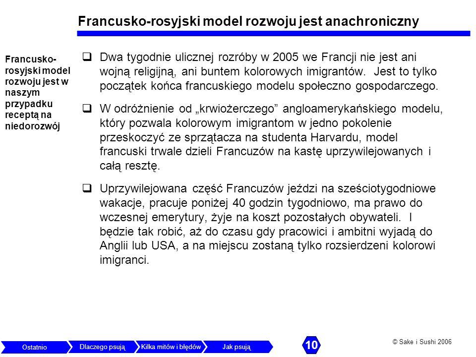 © Sake i Sushi 2006 Francusko-rosyjski model rozwoju jest anachroniczny Dwa tygodnie ulicznej rozróby w 2005 we Francji nie jest ani wojną religijną,
