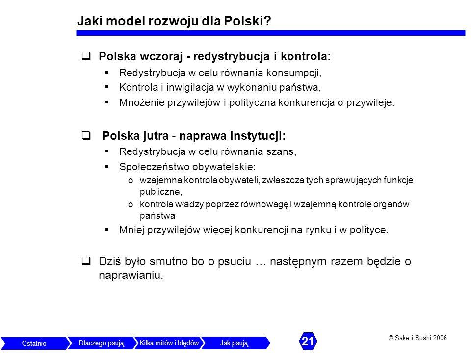 © Sake i Sushi 2006 Jaki model rozwoju dla Polski? Polska wczoraj - redystrybucja i kontrola: Redystrybucja w celu równania konsumpcji, Kontrola i inw