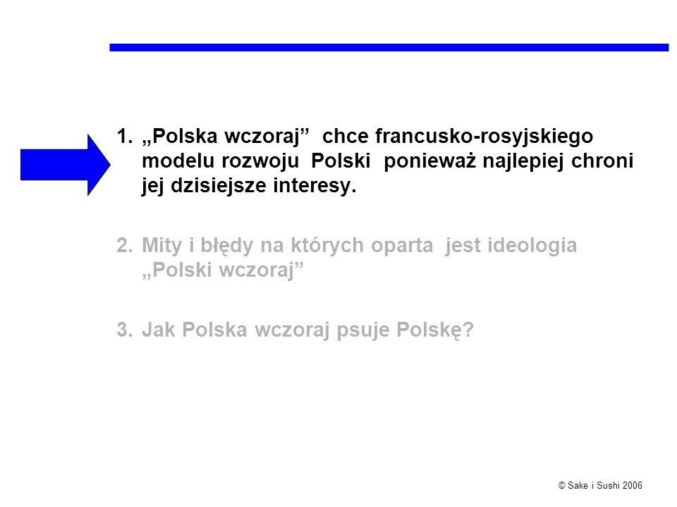 © Sake i Sushi 2006 1.Polska wczoraj chce francusko-rosyjskiego modelu rozwoju Polski ponieważ najlepiej chroni jej dzisiejsze interesy. 2.Mity i błęd