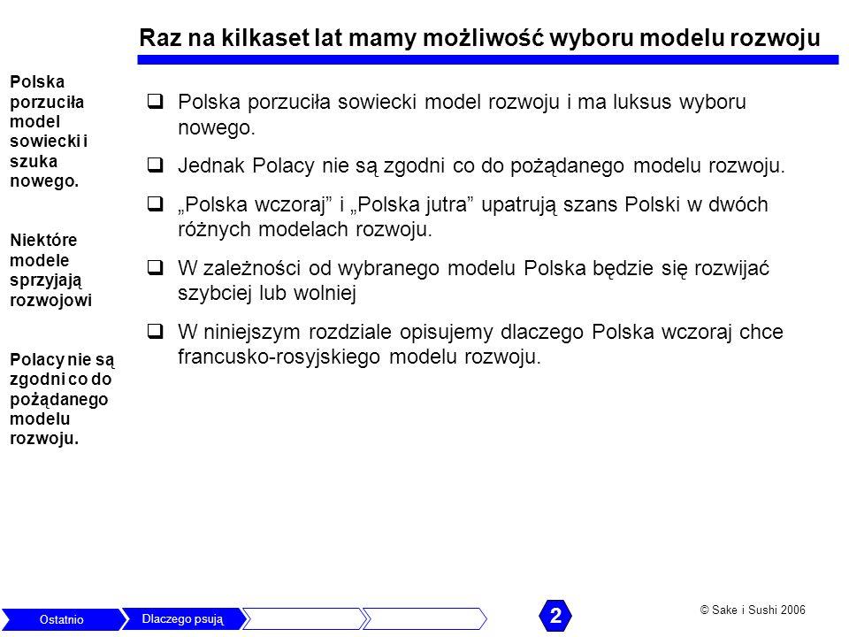 © Sake i Sushi 2006 Raz na kilkaset lat mamy możliwość wyboru modelu rozwoju Polska porzuciła sowiecki model rozwoju i ma luksus wyboru nowego. Jednak