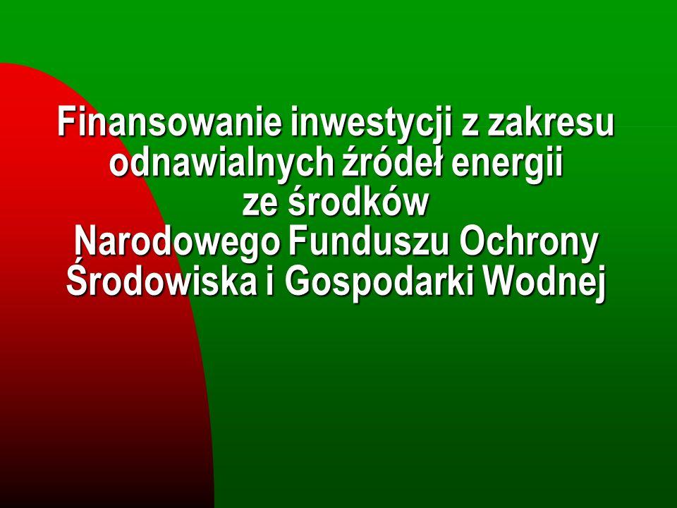 Sektorowy Program Operacyjny - Wzrost Konkurencyjności Przedsiębiorstw Poziom pomocy finansowej Pomoc z funduszy publicznych UE ma formę dotacji (jako refundacja wydatków poniesionych przez przedsiębiorcę) uzupełniana przez pożyczki z NFOŚiGW.