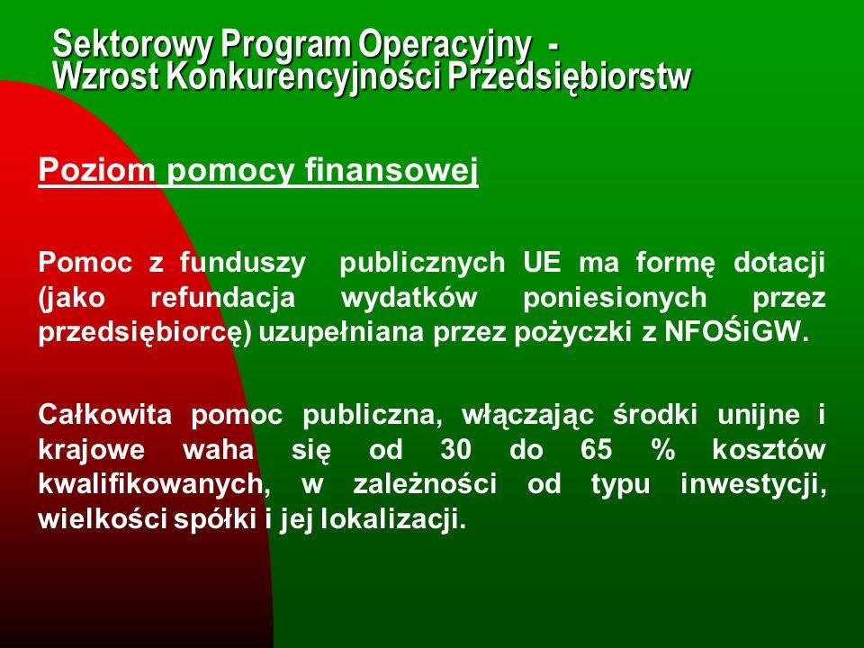 Sektorowy Program Operacyjny - Wzrost Konkurencyjności Przedsiębiorstw Poziom pomocy finansowej Pomoc z funduszy publicznych UE ma formę dotacji (jako