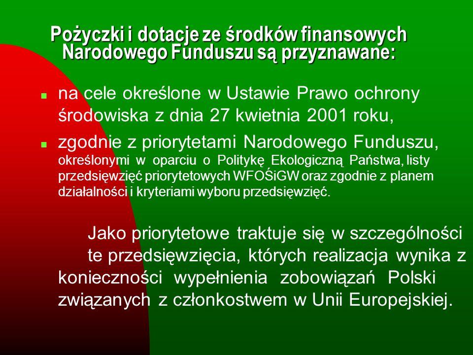 n na cele określone w Ustawie Prawo ochrony środowiska z dnia 27 kwietnia 2001 roku, n zgodnie z priorytetami Narodowego Funduszu, określonymi w oparc