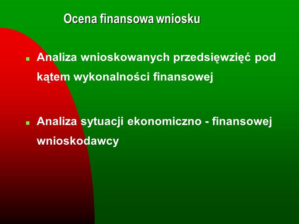 Ocena finansowa wniosku n Analiza wnioskowanych przedsięwzięć pod kątem wykonalności finansowej n Analiza sytuacji ekonomiczno - finansowej wnioskodaw