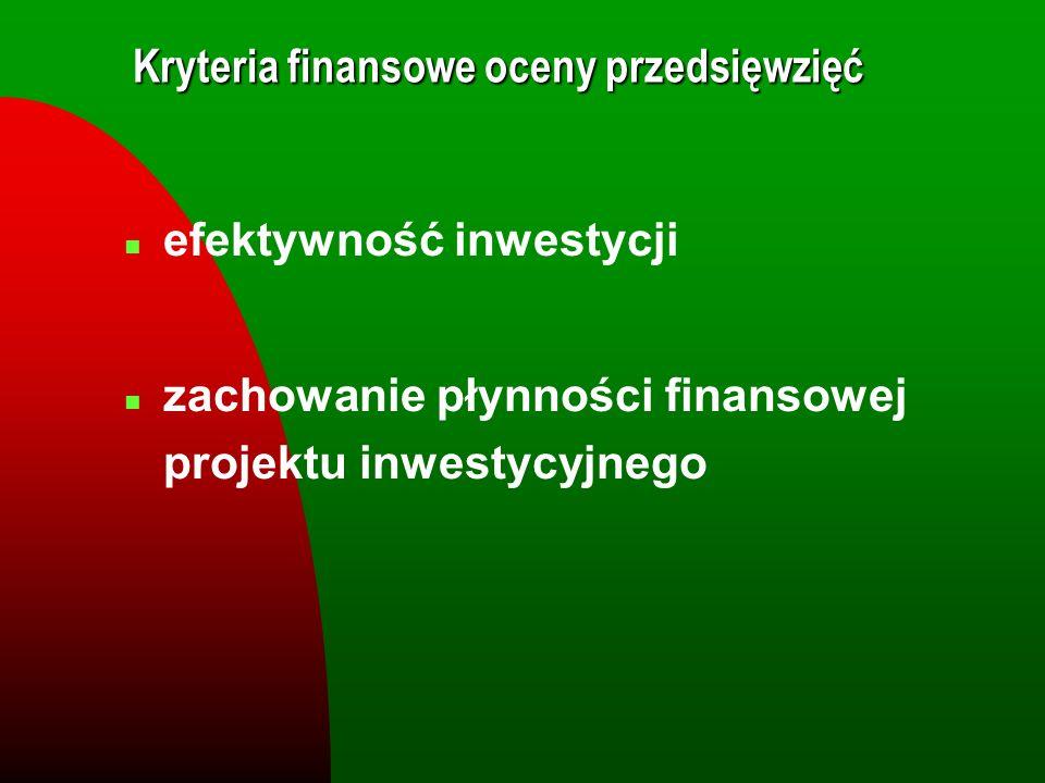 Kryteria finansowe oceny przedsięwzięć n efektywność inwestycji n zachowanie płynności finansowej projektu inwestycyjnego