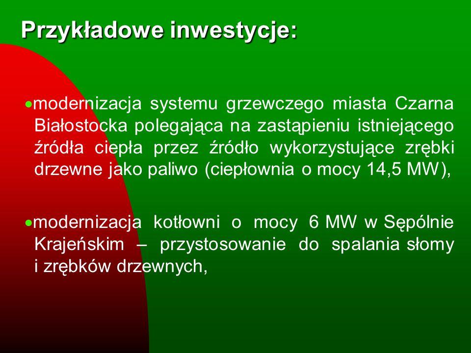 Przykładowe inwestycje: modernizacja systemu grzewczego miasta Czarna Białostocka polegająca na zastąpieniu istniejącego źródła ciepła przez źródło wy
