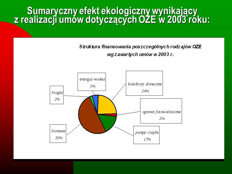 Sumaryczny efekt ekologiczny wynikający z realizacji umów dotyczących OZE w 2003 roku: