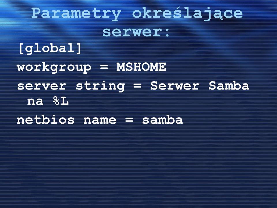 Parametry określające serwer: [global] workgroup = MSHOME server string = Serwer Samba na %L netbios name = samba