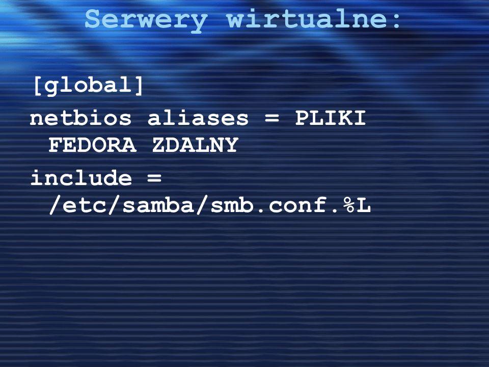 Serwery wirtualne: [global] netbios aliases = PLIKI FEDORA ZDALNY include = /etc/samba/smb.conf.%L