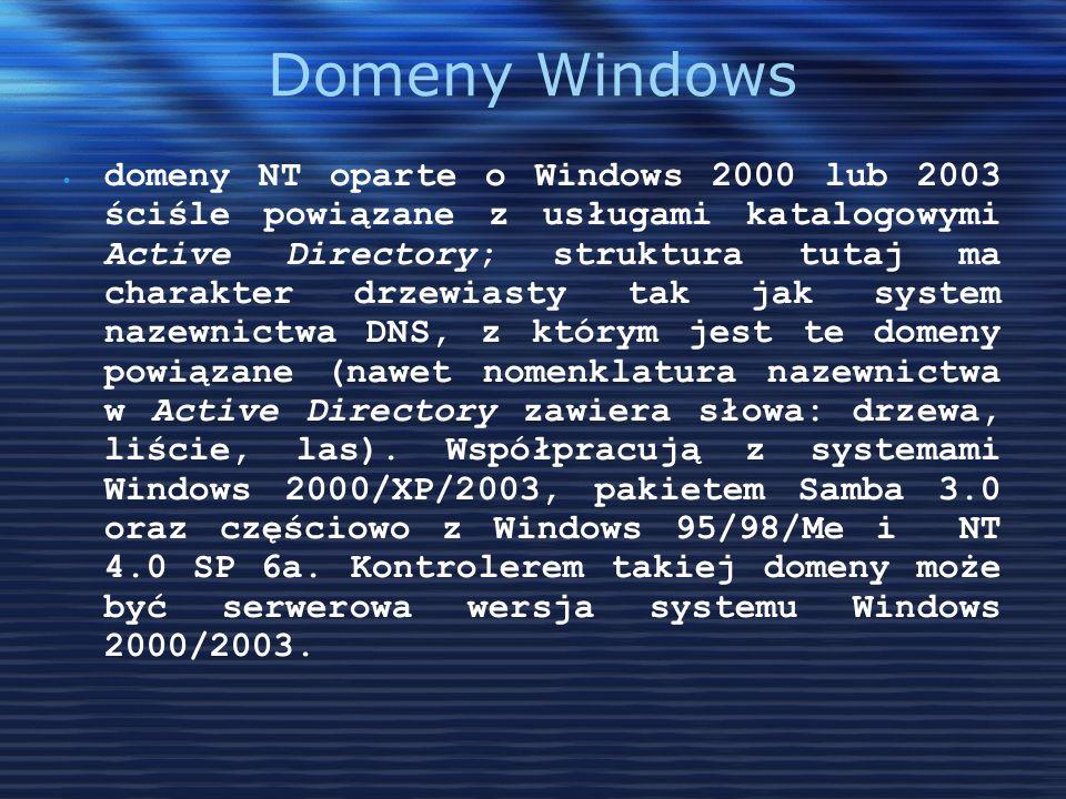 Domeny Windows domeny NT oparte o Windows 2000 lub 2003 ściśle powiązane z usługami katalogowymi Active Directory; struktura tutaj ma charakter drzewi