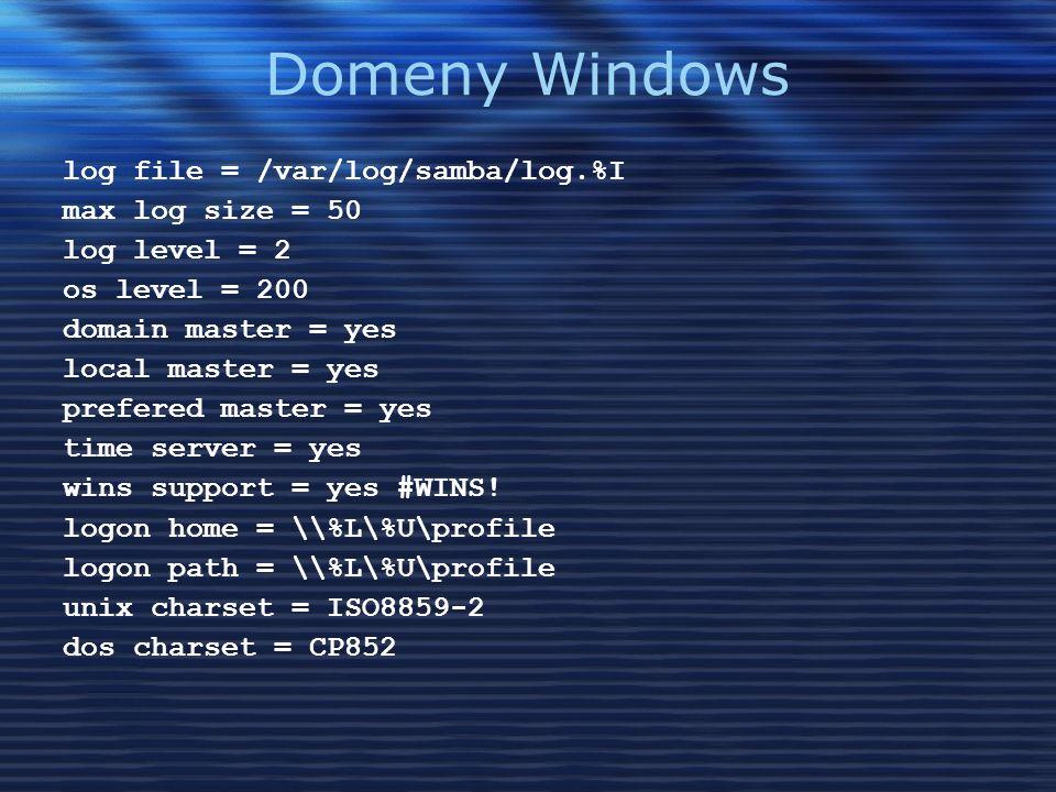 Domeny Windows log file = /var/log/samba/log.%I max log size = 50 log level = 2 os level = 200 domain master = yes local master = yes prefered master