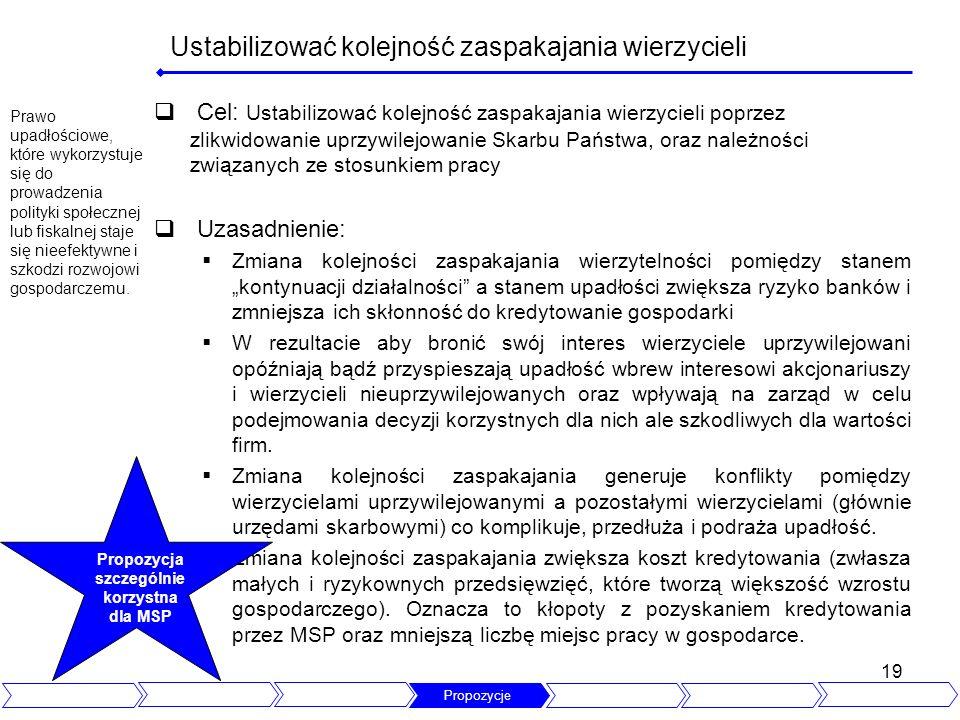 19 Ustabilizować kolejność zaspakajania wierzycieli Cel: Ustabilizować kolejność zaspakajania wierzycieli poprzez zlikwidowanie uprzywilejowanie Skarb