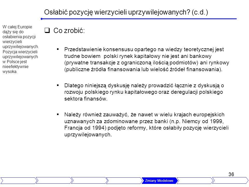 36 Osłabić pozycję wierzycieli uprzywilejowanych? (c.d.) Co zrobić: Przedstawienie konsensusu opartego na wiedzy teoretycznej jest trudne bowiem polsk