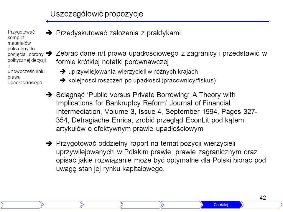 42 Uszczegółowić propozycje Przedyskutować założenia z praktykami Zebrać dane n/t prawa upadłościowego z zagranicy i przedstawić w formie krótkiej not