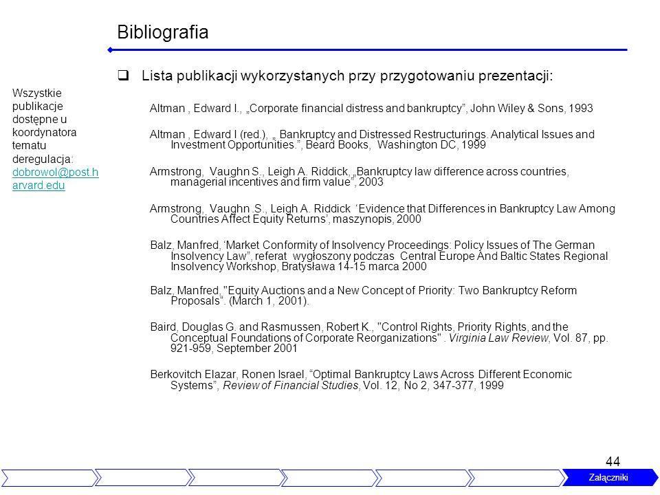 44 Bibliografia Lista publikacji wykorzystanych przy przygotowaniu prezentacji: Altman, Edward I., Corporate financial distress and bankruptcy, John W