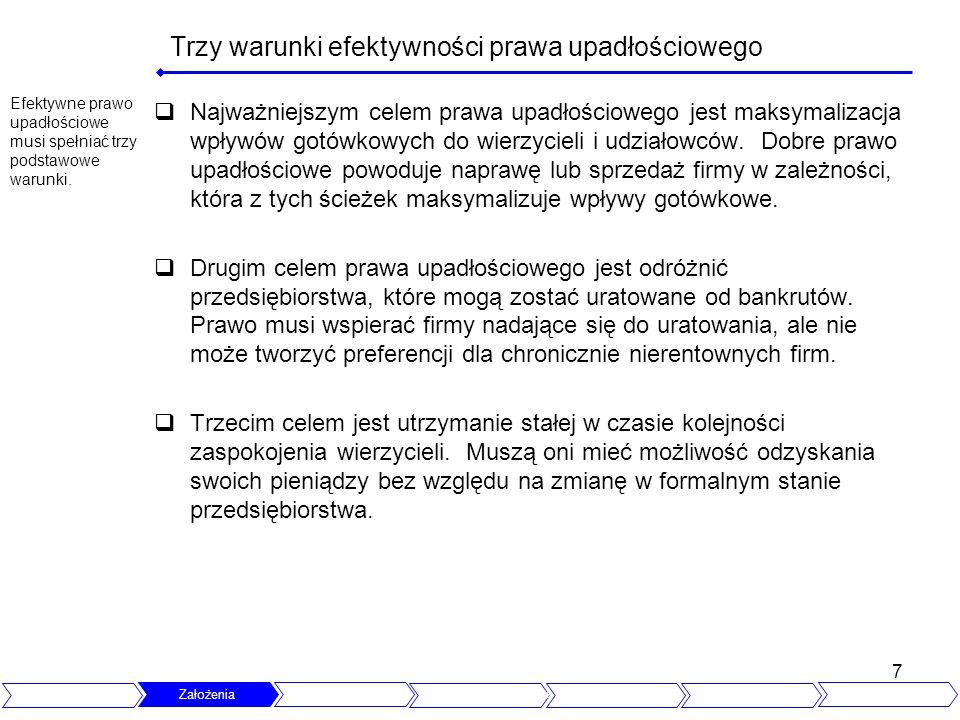 7 Trzy warunki efektywności prawa upadłościowego Najważniejszym celem prawa upadłościowego jest maksymalizacja wpływów gotówkowych do wierzycieli i ud