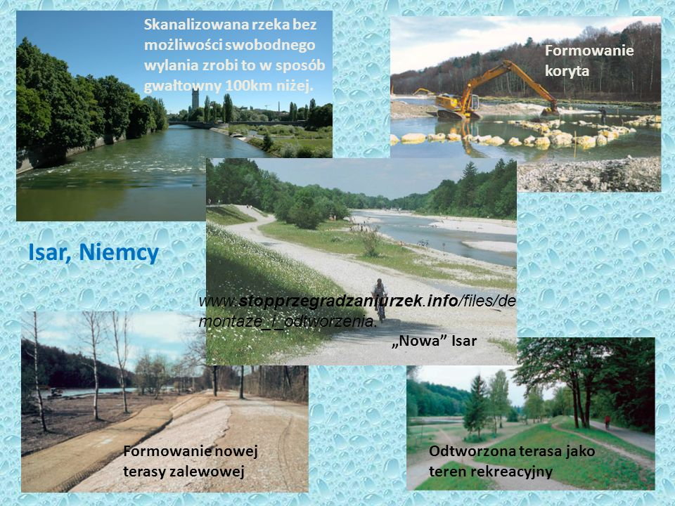Skanalizowana rzeka bez możliwości swobodnego wylania zrobi to w sposób gwałtowny 100km niżej. Formowanie koryta Formowanie nowej terasy zalewowej Odt