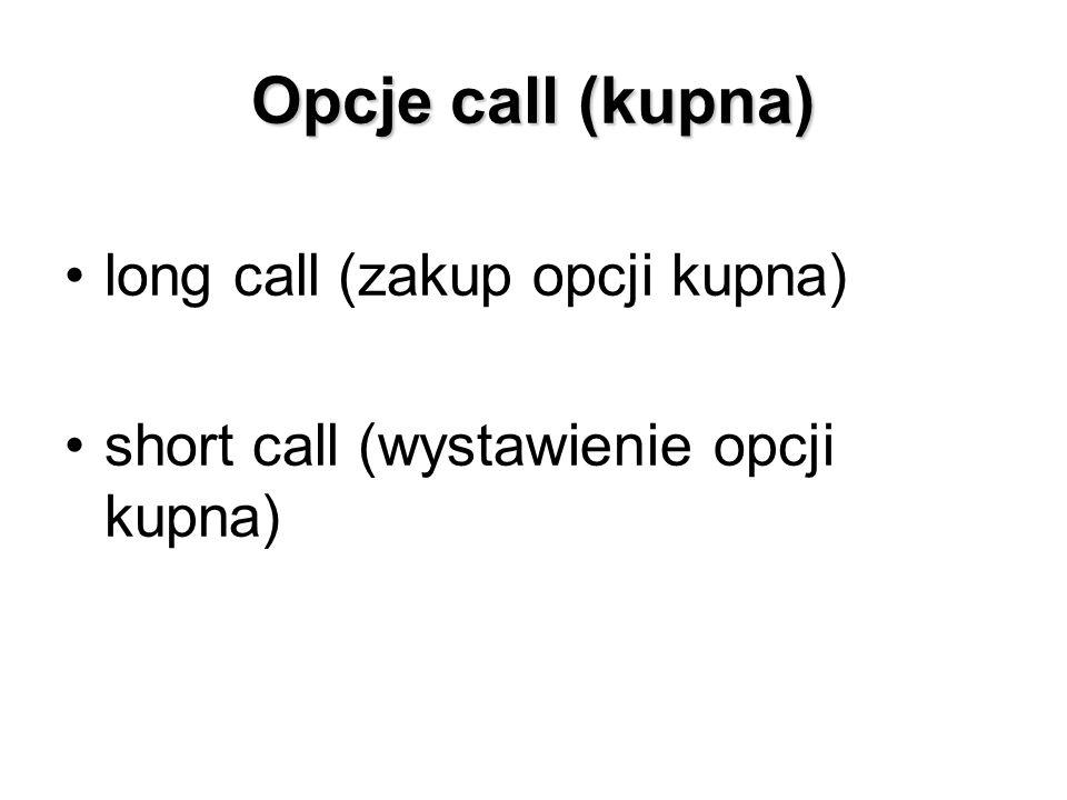Opcje call (kupna) long call (zakup opcji kupna) short call (wystawienie opcji kupna)