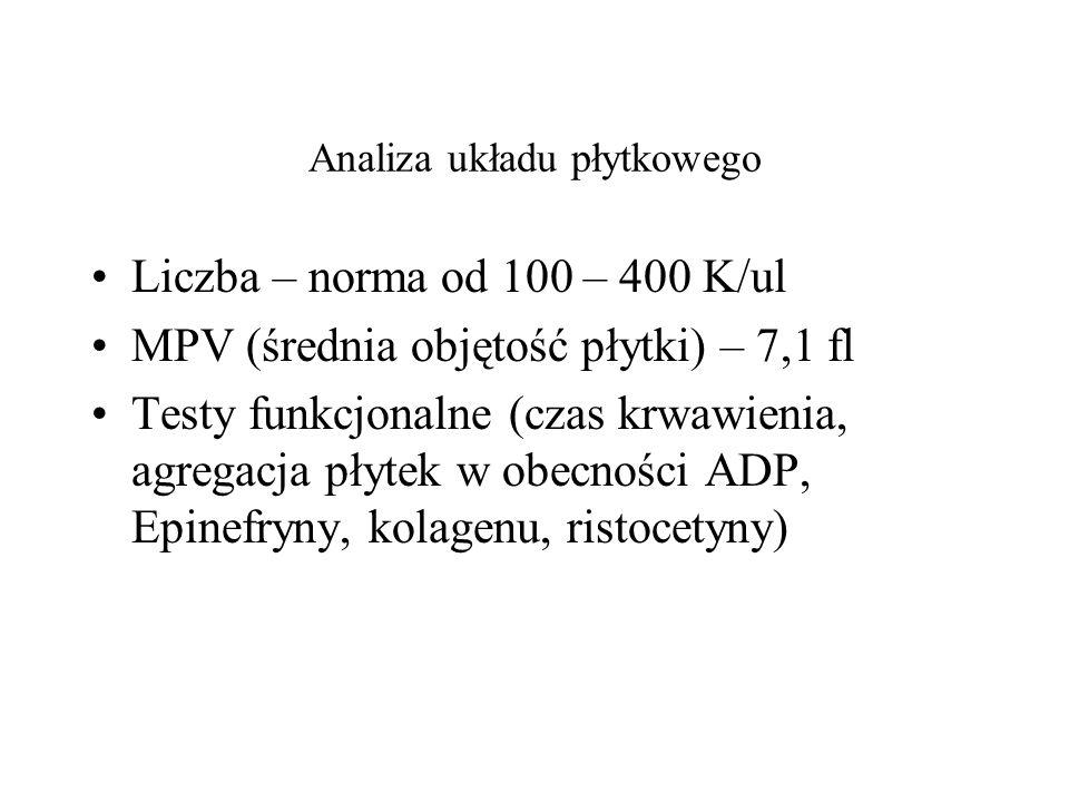 Analiza układu płytkowego Liczba – norma od 100 – 400 K/ul MPV (średnia objętość płytki) – 7,1 fl Testy funkcjonalne (czas krwawienia, agregacja płyte