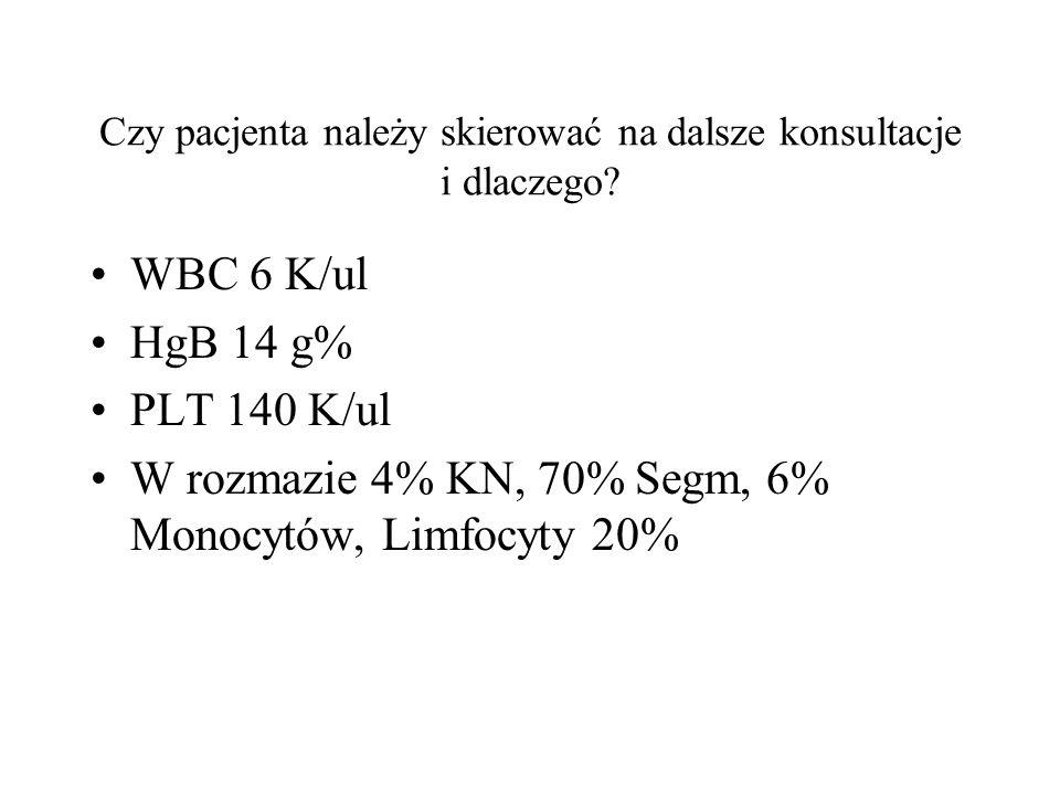 Czy pacjenta należy skierować na dalsze konsultacje i dlaczego? WBC 6 K/ul HgB 14 g% PLT 140 K/ul W rozmazie 4% KN, 70% Segm, 6% Monocytów, Limfocyty
