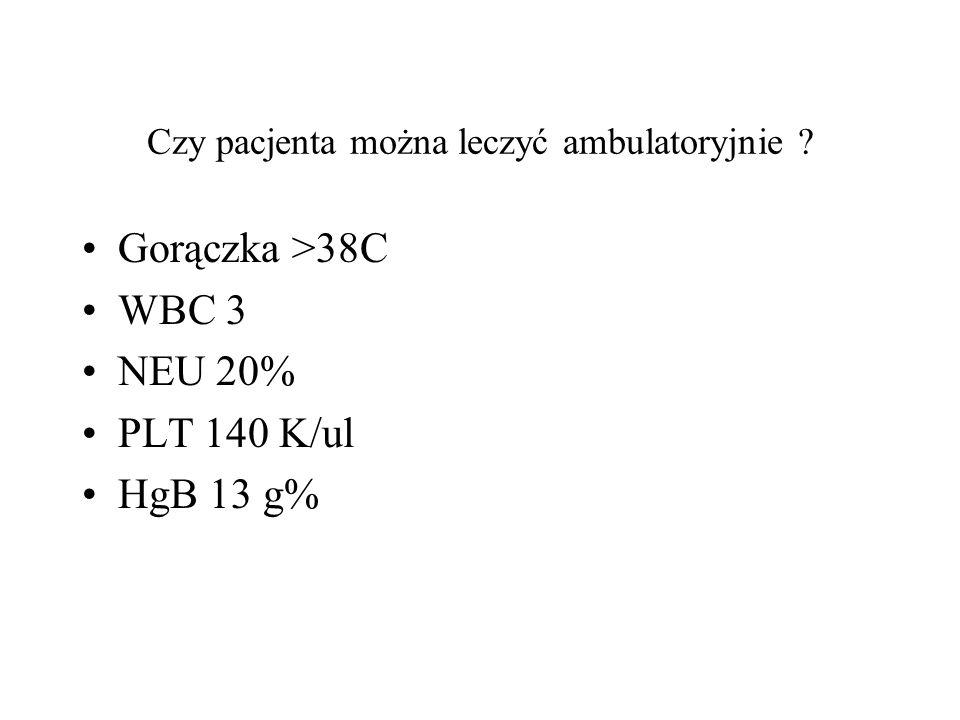 Czy pacjenta można leczyć ambulatoryjnie ? Gorączka >38C WBC 3 NEU 20% PLT 140 K/ul HgB 13 g%