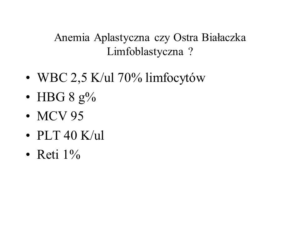 Anemia Aplastyczna czy Ostra Białaczka Limfoblastyczna ? WBC 2,5 K/ul 70% limfocytów HBG 8 g% MCV 95 PLT 40 K/ul Reti 1%