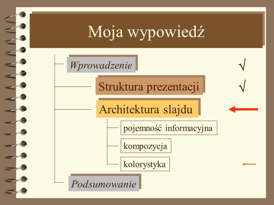 Kompozycja Tekst Jednolity tekst powinien być wyrównywany do strony lewej lub dwustronnie. Wskazane jest stosowanie tabulatorów. Tekst justowany do st