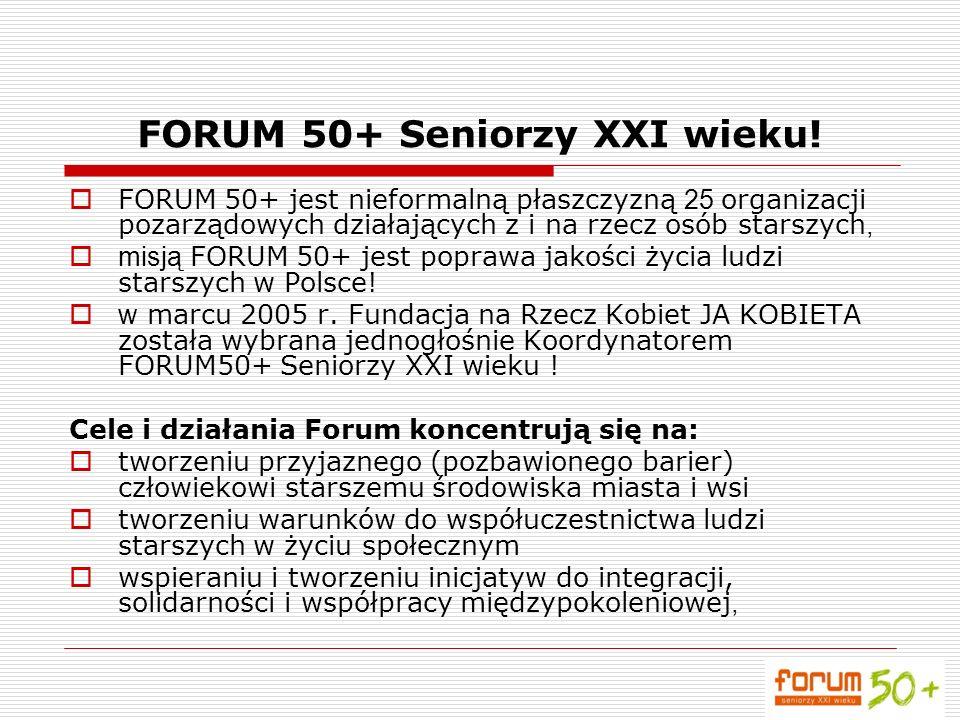 FORUM 50+ Seniorzy XXI wieku! FORUM 50+ jest nieformalną płaszczyzną 25 organizacji pozarządowych działających z i na rzecz osób starszych, misją FORU