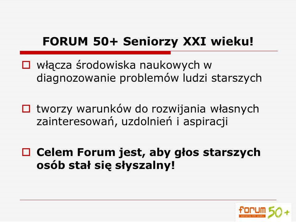 FORUM 50+ Seniorzy XXI wieku! włącza środowiska naukowych w diagnozowanie problemów ludzi starszych tworzy warunków do rozwijania własnych zainteresow