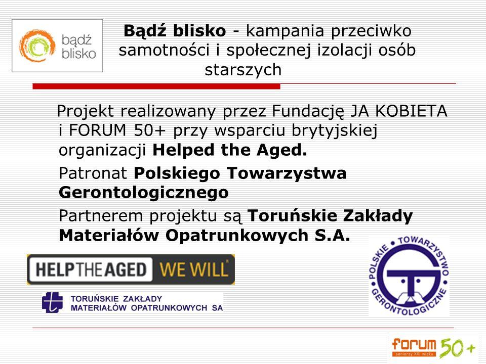 Celem projektu jest: przeciwdziałanie samotności i osamotnieniu osób starszych w Polsce, wprowadzenie głosu/opinii osób starszych w proces decyzyjny - Nic o nas bez nas.