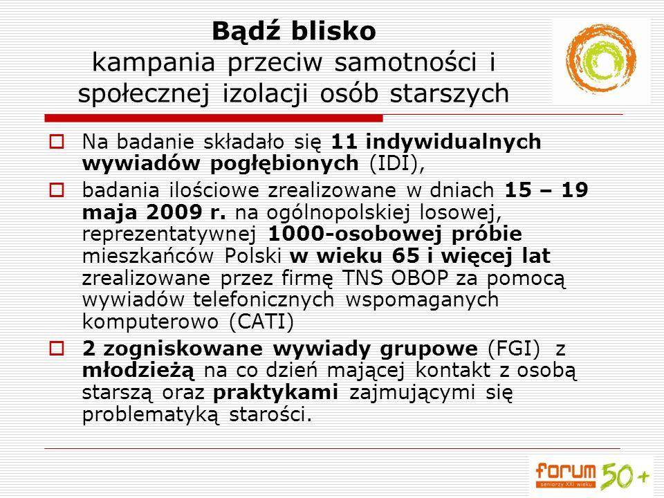 Na badanie składało się 11 indywidualnych wywiadów pogłębionych (IDI), badania ilościowe zrealizowane w dniach 15 – 19 maja 2009 r. na ogólnopolskiej