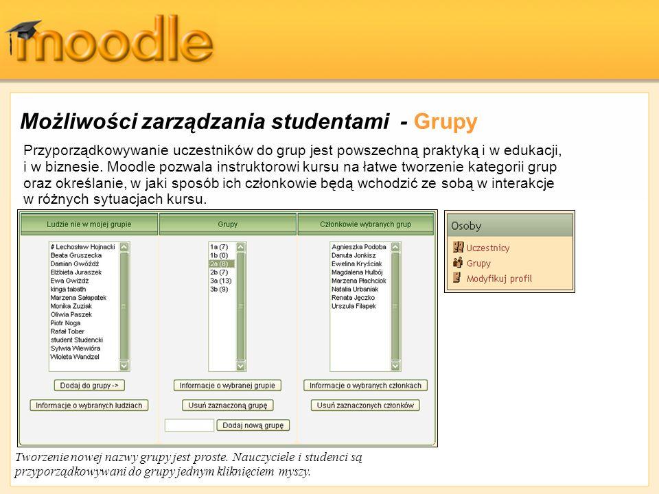 Możliwości zarządzania studentami - Grupy Przyporządkowywanie uczestników do grup jest powszechną praktyką i w edukacji, i w biznesie. Moodle pozwala