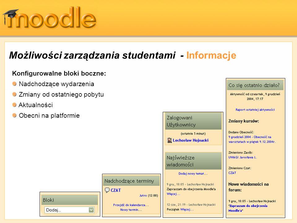 Możliwości zarządzania studentami - Informacje Konfigurowalne bloki boczne: Nadchodzące wydarzenia Zmiany od ostatniego pobytu Aktualności Obecni na p