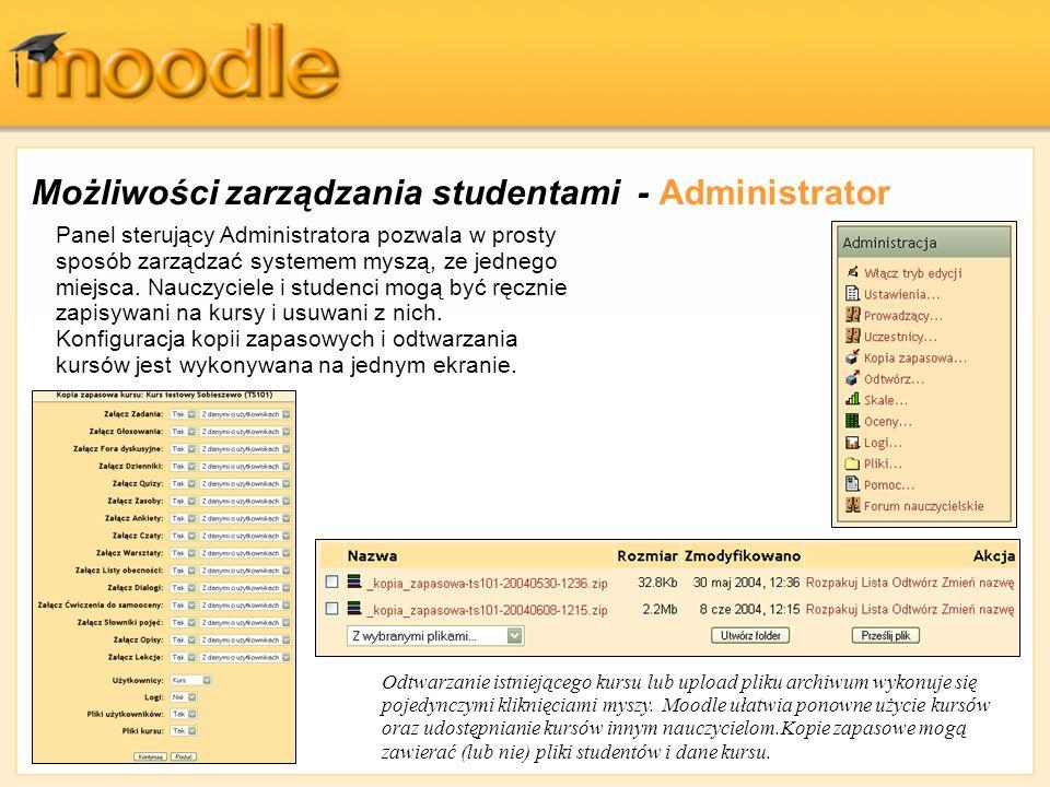 Możliwości zarządzania studentami - Administrator Panel sterujący Administratora pozwala w prosty sposób zarządzać systemem myszą, ze jednego miejsca.