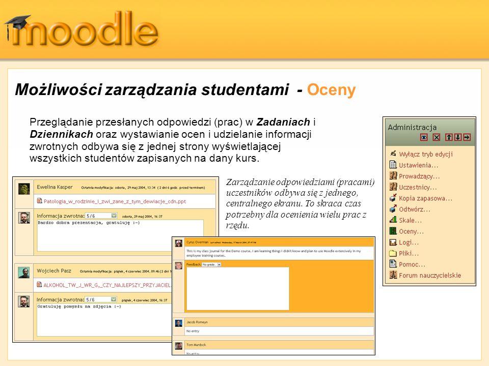 Możliwości zarządzania studentami - Oceny Przeglądanie przesłanych odpowiedzi (prac) w Zadaniach i Dziennikach oraz wystawianie ocen i udzielanie info