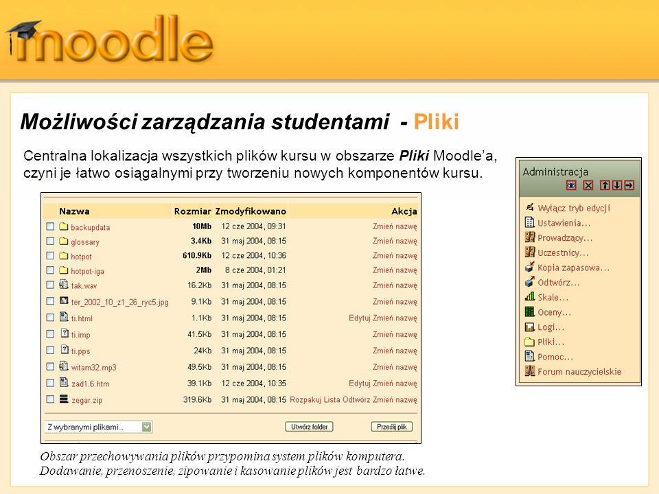 Możliwości zarządzania studentami - Pliki Centralna lokalizacja wszystkich plików kursu w obszarze Pliki Moodlea, czyni je łatwo osiągalnymi przy twor