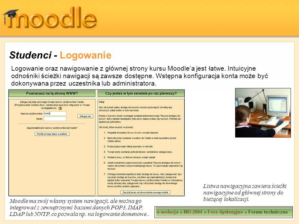 Studenci - Logowanie Logowanie oraz nawigowanie z głównej strony kursu Moodlea jest łatwe. Intuicyjne odnośniki ścieżki nawigacji są zawsze dostępne.