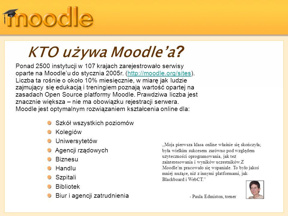Ponad 2500 instytucji w 107 krajach zarejestrowało serwisy oparte na Moodleu do stycznia 2005r. (http://moodle.org/sites). Liczba ta rośnie o około 10