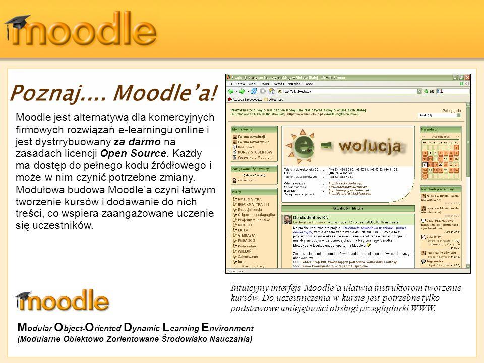 Poznaj.... Moodlea! Moodle jest alternatywą dla komercyjnych firmowych rozwiązań e-learningu online i jest dystrrybuowany za darmo na zasadach licencj
